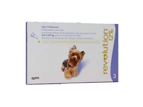 Revolution c/3 30mg Cães 2,6 à 5kg