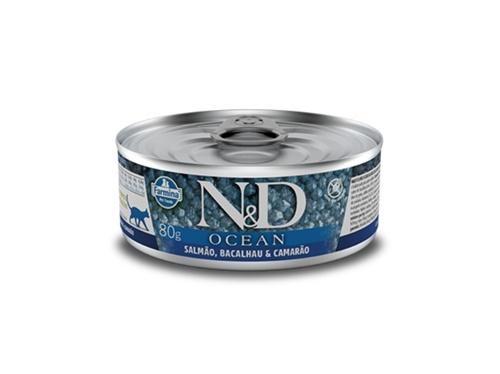 N&D Feline Lata Ocean Salmao/Bacal/Camar 80g