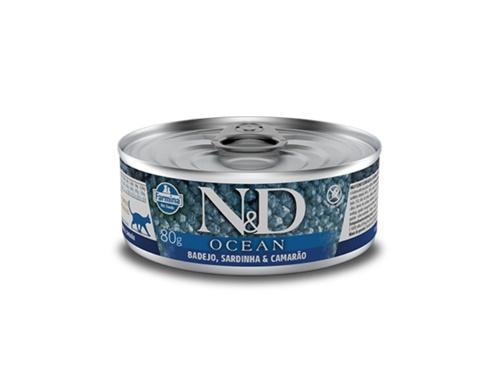 N&D Feline Lata Ocean Badejo/Sardi/Camar 80g