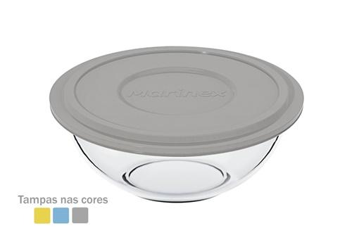 Tigela 1,5L Plus Incolor com Tampa Sortida Plástica Marinex