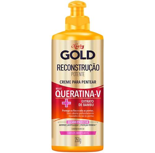 CREME DE PENTEAR NIELY GOLD 250G QUERATINA-V - RECONSTRUÇÃO POTENTE