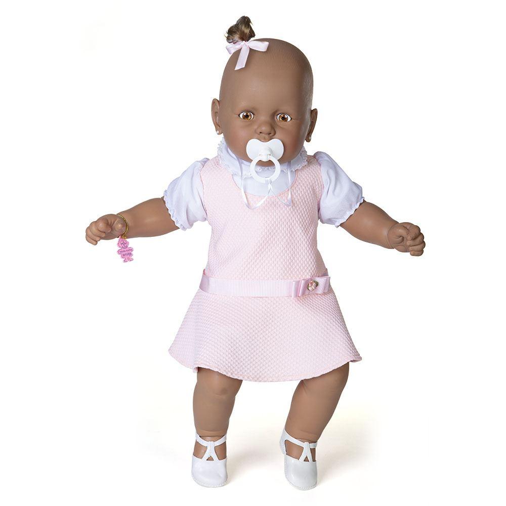 Boneca Meu Bebê Negro Vestido Rosa Estrela Broker