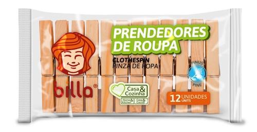 PRENDEDOR DE ROUPAS BILLA 12 UN MADEIRA