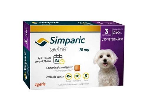 Simparic c/ 3 comprimidos  10mg - 2,6 A 5kg