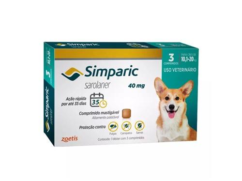 Simparic c/ 3 comprimidos  40mg - 10,1 A 20kg