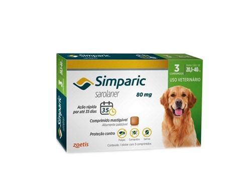 Simparic c/ 3 comprimidos  80mg - 20,1 A 40kg