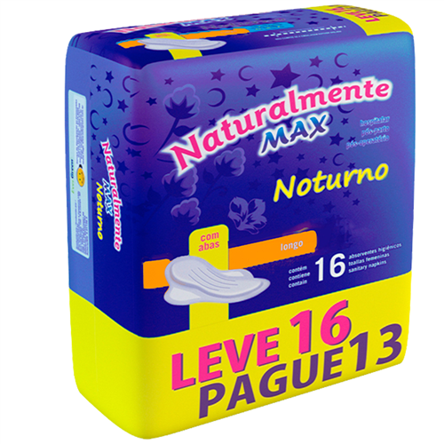 ABSORVENTE NATURALMENTE MAX NOTURNO LEVE 16 PAGUE 13