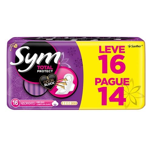 ABSORVENTE SYM SUAVE COM ABAS LEVE 16 PAGUE 14  | CAIXA  C/ 30X16