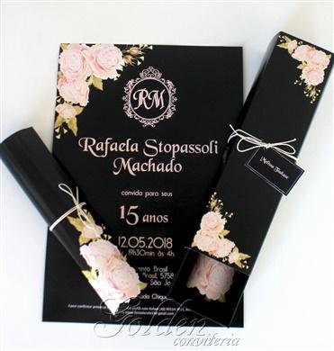 Convite para aniversário de 15 anos - Modelo Caixa