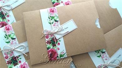 Convite para aniversário de 15 anos - Rústico Floral