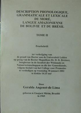 Description phonologique, grammaticale et lexicale  du Moré, langue amazonienne de Bolivie et du Brésil. Tome II