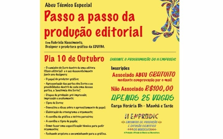 Editus promove curso de produção editorial durante II ENPRODIC