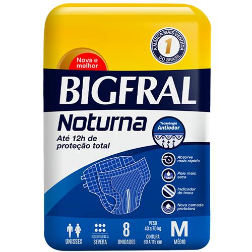 FRALDA BIGFRAL DERMA PLUS NOTURNA MÉDIA | FARDO  C/ 8X8 UNID
