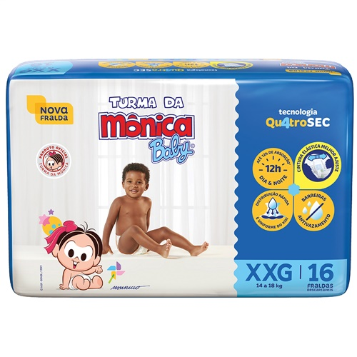 FRALDA TURMA DA MONICA JUMBO EXTRA EXTRA GRANDE  FARDO  C/ 6X16 UNID