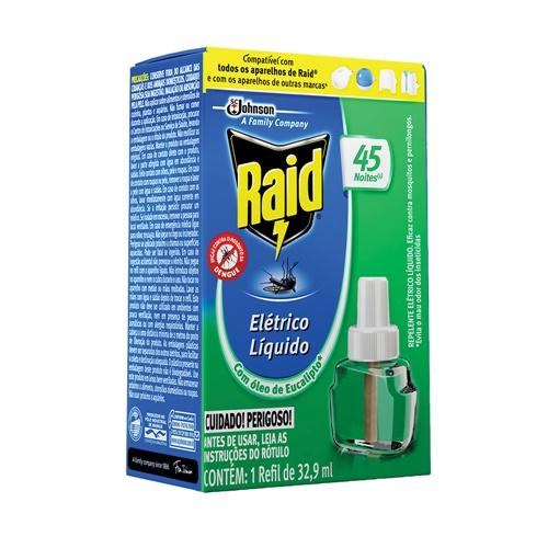 INSETICIDA RAID LÍQUIDO  EUCALIPTO REFIL  45 NOITES    CAIXA  C/ 12X32,9ML