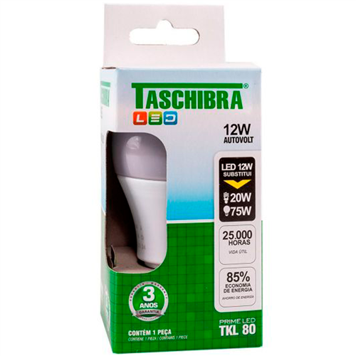 LÂMPADA TASCHIBRA LED 12W TKL 80 6500K | CAIXA  C/ 10X1 UNID | EAN 7897079085068