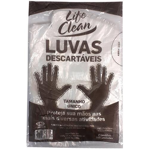 LUVA LIFE CLEAN DESCARTÁVEL UN    PC COM 100 UNID