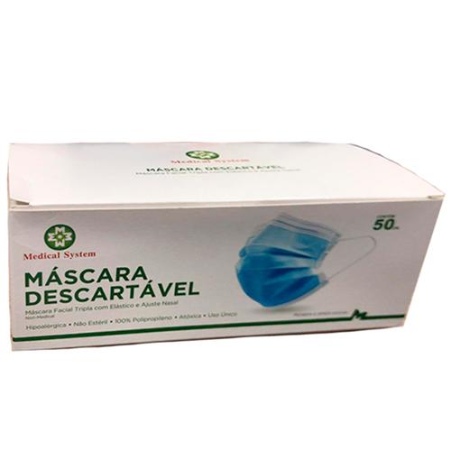 MASCARA DESCARTAVEL TRIPLA MEDICAL SYSTEM   CAIXA COM 50 UNIDADES