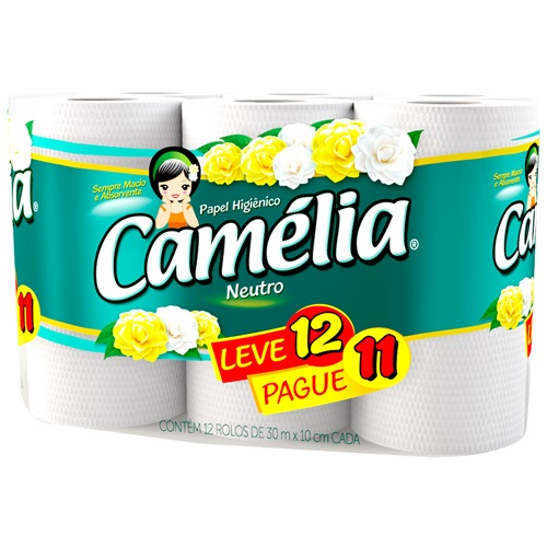 PAPEL HIGIÊNICO  CAMÉLIA FOLHA SIMPLES  LEVE 12 PAGUE 11  | FARDO  C/ 8X12 UNID