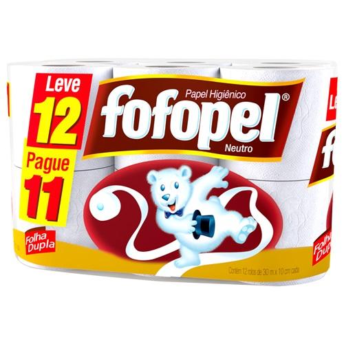 PAPEL HIGIÊNICO  FOFOPEL FOLHA DUPLA  LEVE 12 PAGUE 11    FARDO  C/ 6X12 UNID