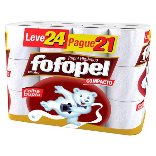 PAPEL HIGIÊNICO  FOFOPEL FOLHA DUPLA  LEVE 24 PAGUE 21    FARDO  C/ 3X24 UNID
