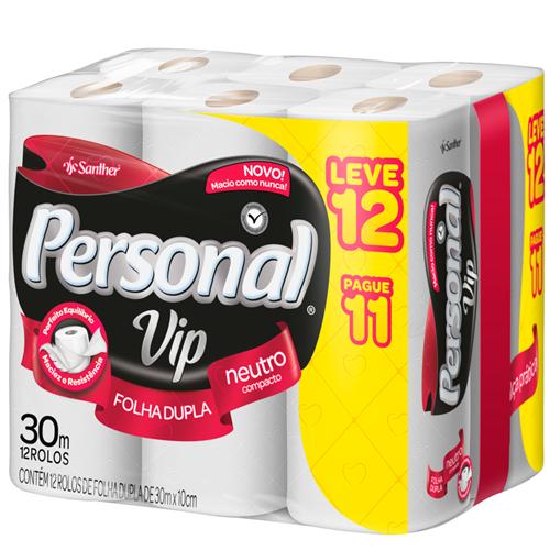 PAPEL HIGIÊNICO  PERSONAL FOLHA DUPLA  VIP LEVE 12 PAGUE 11  | FARDO  C/ 6X12