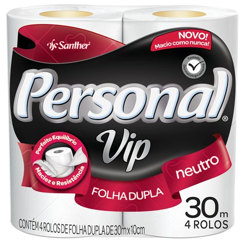 PAPEL HIGIÊNICO  PERSONAL FOLHA DUPLA  VIP N PACOTE C/ 4 ROLOS      FARDO  C/ 16X4