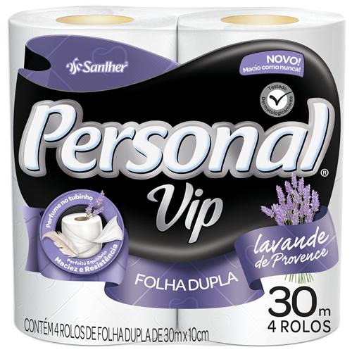 PAPEL HIGIÊNICO  PERSONAL FOLHA DUPLA  VIP PERFUMADO PACOTE C/ 4 ROLOS  | FARDO  C/ 16X4
