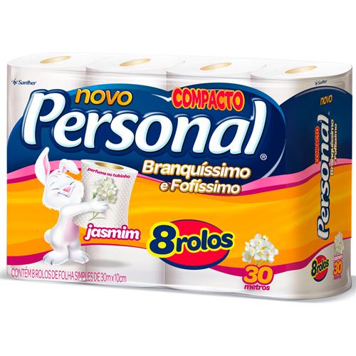 PAPEL HIGIÊNICO  PERSONAL FOLHA SIMPLES  JASMIM PACOTE C/ 8 ROLOS  | FARDO  C/ 8X8 | EAN 7896110003948