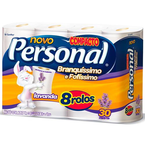 PAPEL HIGIÊNICO  PERSONAL FOLHA SIMPLES  LAVANDA PACOTE C/ 8 ROLOS  | FARDO  C/ 8X8 | EAN 7896110003924