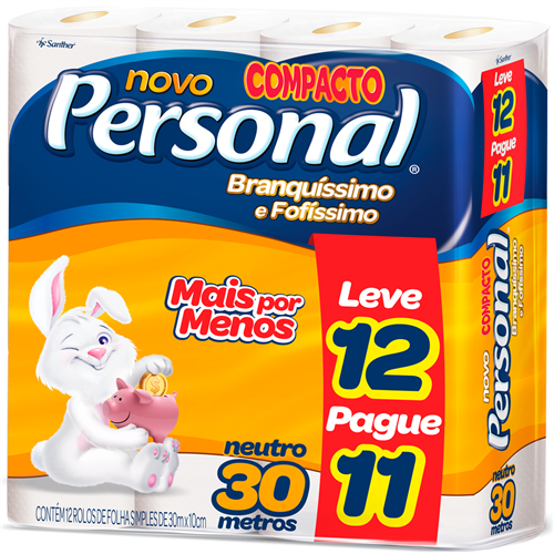 PAPEL HIGIÊNICO  PERSONAL FOLHA SIMPLES  LEVE 12 PAGUE 11  | FARDO  C/ 6X12 | EAN 7896110094700