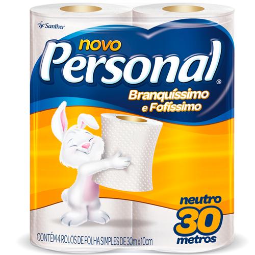 PAPEL HIGIÊNICO  PERSONAL FOLHA SIMPLES  NEUTRO PACOTE C/ 4 ROLOS | FARDO  C/ 15X4 UNID