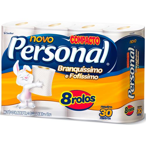 PAPEL HIGIÊNICO  PERSONAL FOLHA SIMPLES  NEUTRO PACOTE C/ 8 ROLOS  | FARDO  C/ 8X8 | EAN 7896110091846